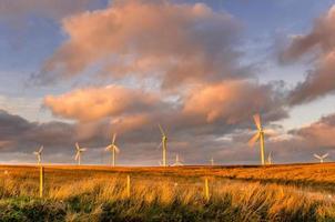 moinhos de vento ao pôr do sol