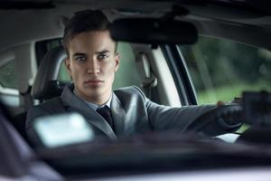 elegance stylish men in car photo