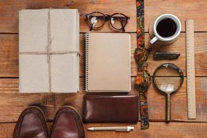 Men's accessories on the wooden table photo