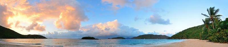 Beach sunset panorama photo