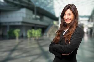 Smiling young female manager portrait
