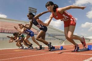 Group of female track athletes