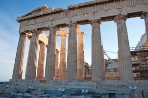 Detalle del Partenón en la Acrópolis ateniense, Grecia foto