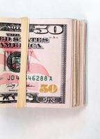 Folded Wad Fifty Dollar Bills American Money Cash Tender photo