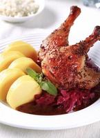 Roast Duck Legs with Braised Cabbage and Potato Dumplings