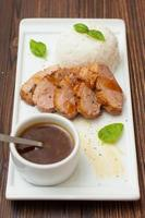duck breast with orange sauce and rice photo