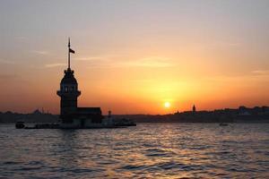 zonsondergang bij de toren van het meisje