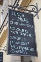 menu de comida em inglês