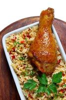 Fried chicken leg with rice photo