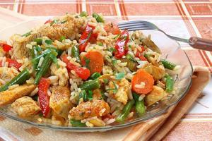 Fried chicken with rice and vegetables