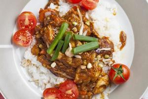 pollo szechuan con arroz blanco en un plato foto