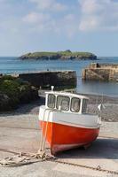 Boat Mullion Cove harbour Cornwall UK the Lizard peninsula