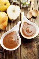 Pear puree, baby food photo