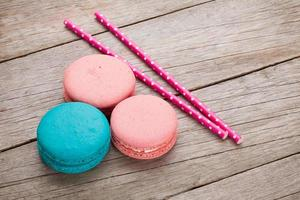 Colorful macaron cookies photo