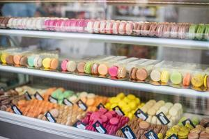 French macarons in shop for sale.