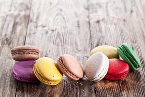 Colorido macaron francés. foto