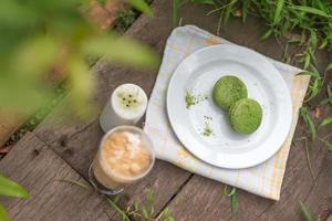 macarons de chá verde - imagem de stock