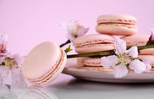 Shabby chic vintage style pink macarons photo