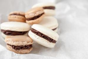 White and brown macarons photo