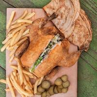 Roast Chicken with potato and pita