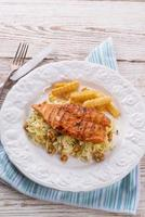 grilled chicken, cabbage salad with nuts and chips