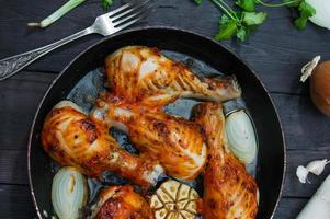 fried chicken drumsticks in a frying pan