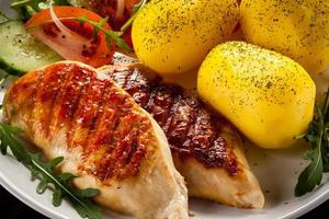 Grilled chicken fillets, boiled potatoes and vegetables