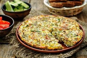 Frittata with chicken and potatoes
