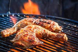 Roast chicken on grill