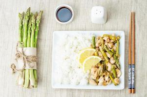 chicken asparagus lemon stir fry photo