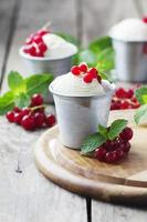 Delicious ice cream with berry and mint