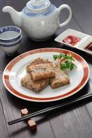 pastel de nabo casero, plato de dim sum chino