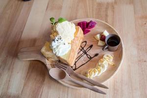 Honey toast with vanilla ice cream photo