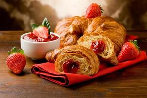 Croissants with marmelade photo