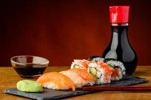Nigiri, uramaki and futomaki sushi