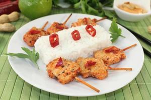 brochetas de sate asiático con arroz foto