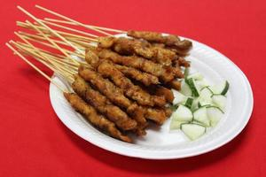 Satay, traditional roasted kebab meat skewers photo
