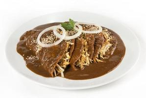 Mexican 'Mole' Enchiladas isolated photo