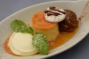 Cream Caramel Flan with dulce de leche and mint