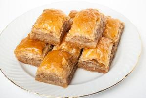 Sweet Baklava on plate isolated on white background.