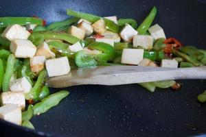 Fried vegetables and tofu.