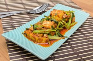 Fried Tofu with chinese kale in red curry saurce