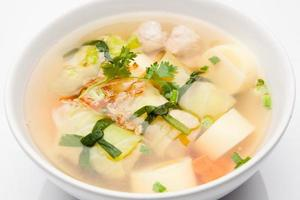 Soup with minced pork photo