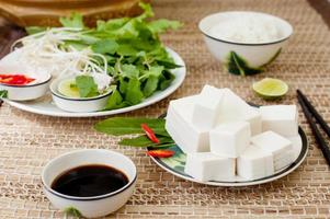 Fresh tofu with rice, salad and soy sauce.