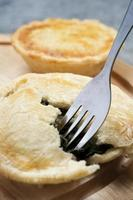 spinach pie with fork