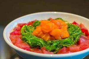 Rice with maguro salmon tartar gohan.