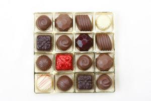 Chocolates box in top view isolated