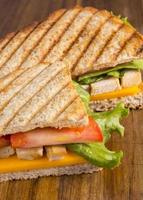 Chicken panini grilled Italian sandwich photo