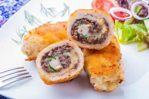 chicken roulade with mushrooms fried in batter