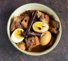 Boiled eggs stewed with pork photo